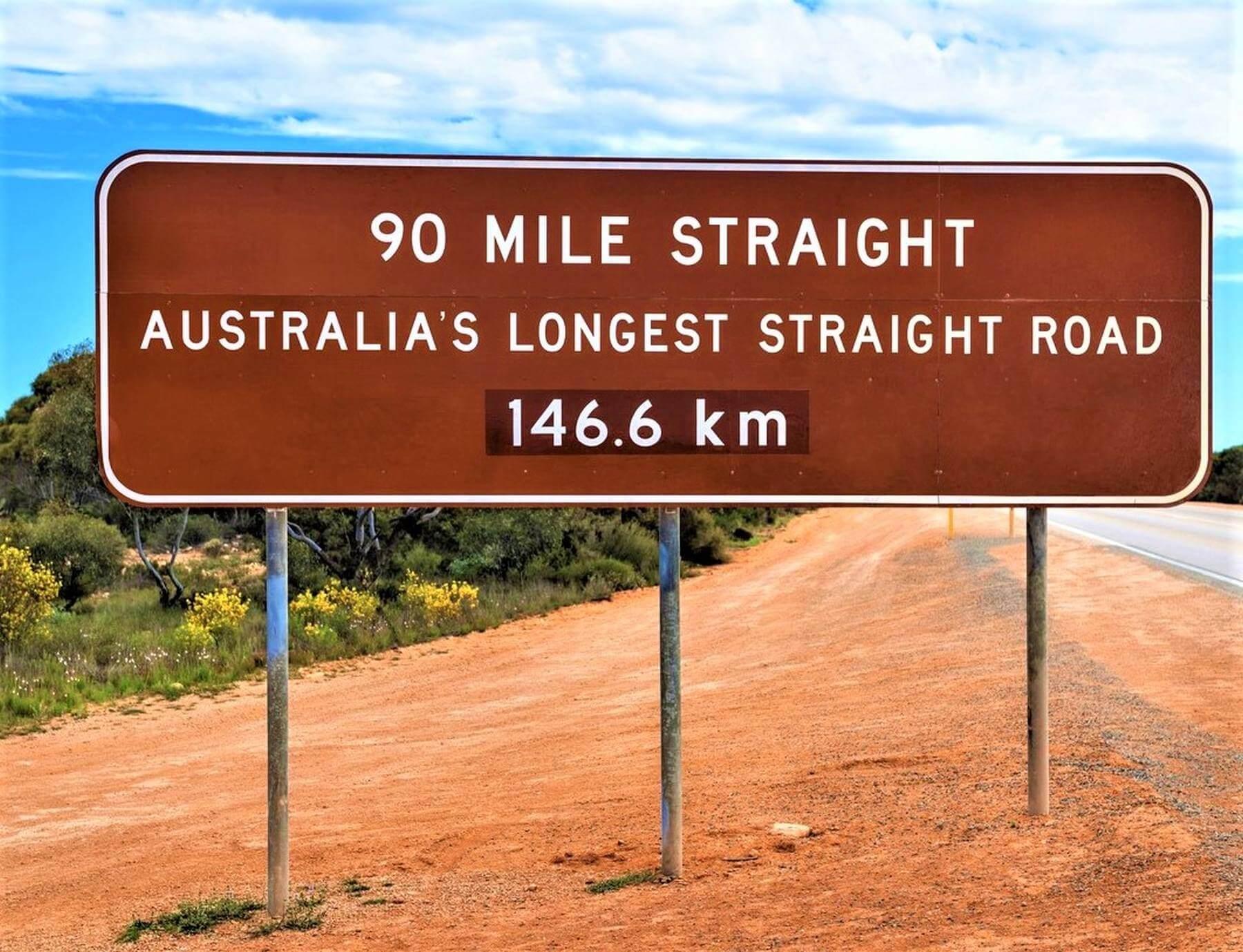 Schild von Australiens längster Straße