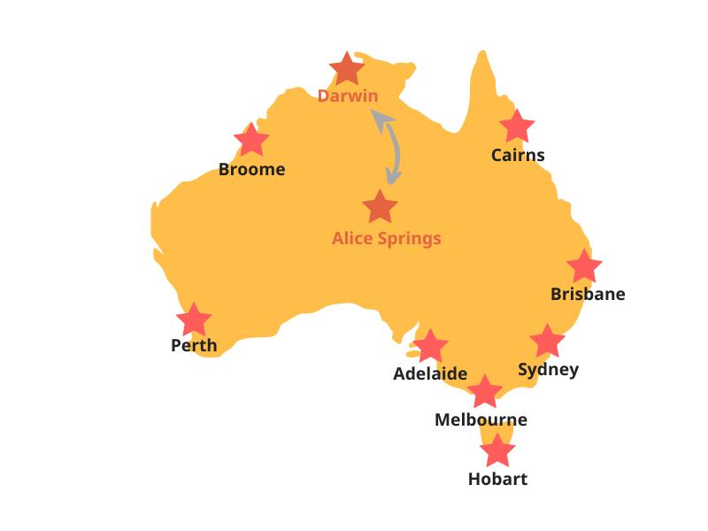 Reiseroute - Darwin bis Alice-Springs