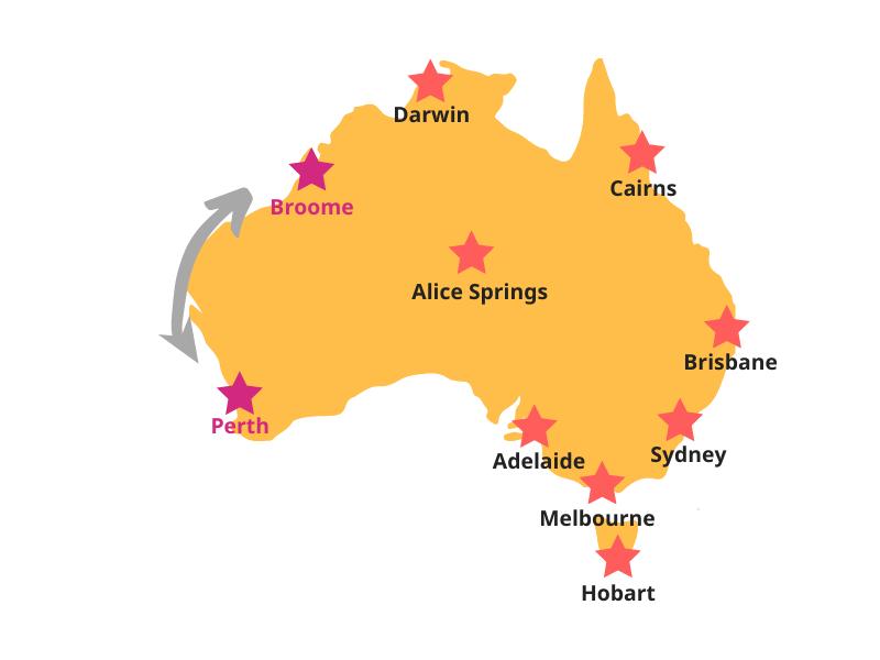 Reiseroute Perth bis Broome